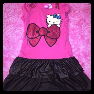 Girls pink and black Hello kitty dress